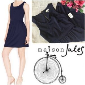 Maison Jules XS Dress Navy Scoop Neck Fit Flare